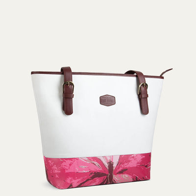 Mia shoulder tote bag in Eggshell White color for women. Shop at Paul Adams world.