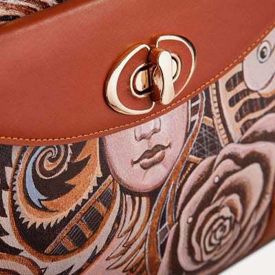 Saffi designer handbag for women with original hand-painted Art Nouveau on canvas. Shop at Paul Adams.
