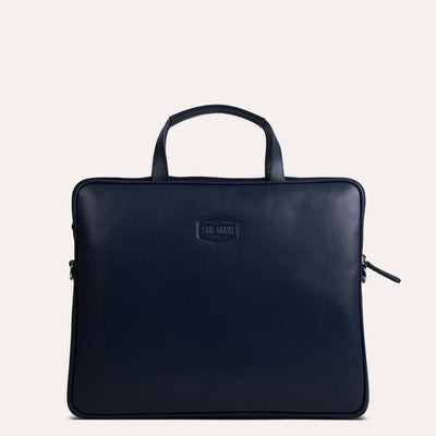 Shiva leather portfolio bag for men in soft Napa leather. Available in Royal Blue at Paul Adams.