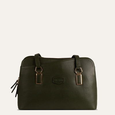 Valerie textured full-grain leather handbag for women in Cactus Green available at Paul Adams.