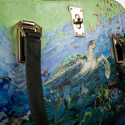 Original hand-painted Impressionist art on canvas. Shop Valerie handbag for women in Cactus green at Paul Adams world.
