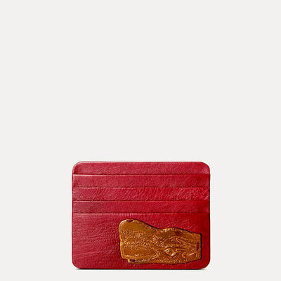 Designer Ostrich Leather Card Holder in Berry Red by Paul Adams