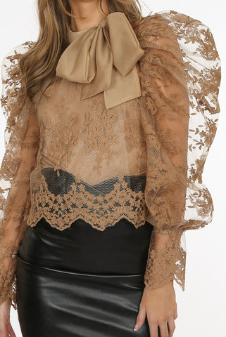 Crochet 2 Piece Tie Up Blouse in Beige