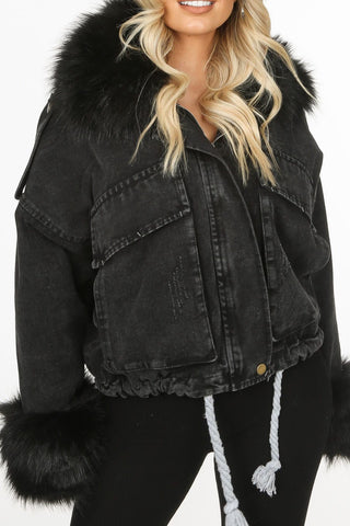 Hooded Denim Faux Fur Jacket in Black