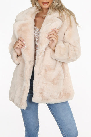 Faux Fur Coat in Beige