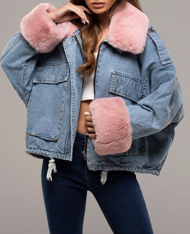 Denim Faux Fur Jacket in Pink