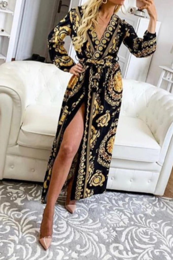 a483ef85a9 Versace Inspired Print Maxi Dress