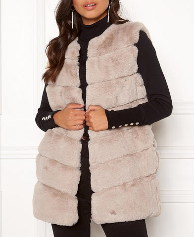 Layered Faux Fur Gilet in Beige