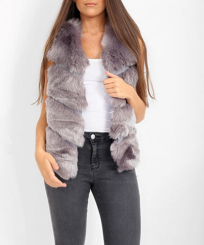 4 Panel Faux Fur Gilet in Grey