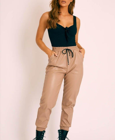 Faux Leather Look Trousers in Beige