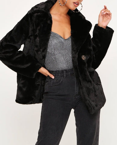 Faux Fur Button Coat