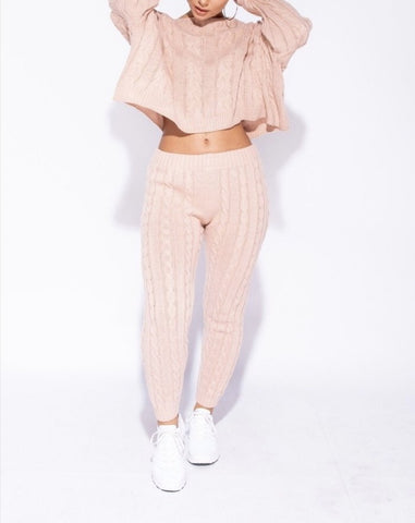 Cable Knit Lounge Set in Pink