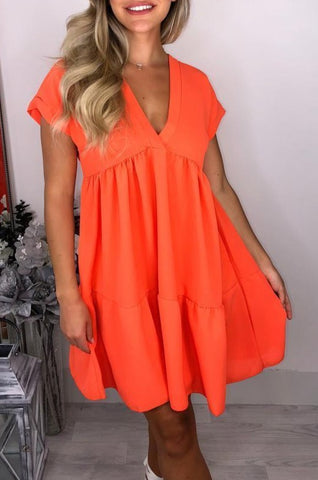 V Neck Smock Dress in Orange