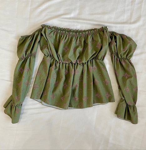 Designer Inspired Bardot Top in Green