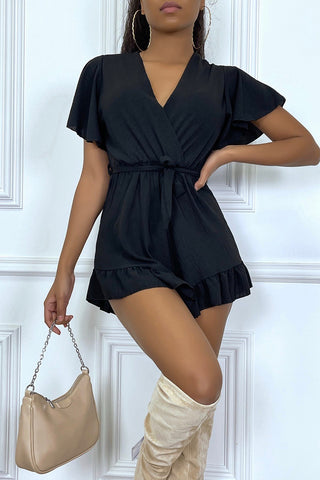 Frilly Playsuit in Black