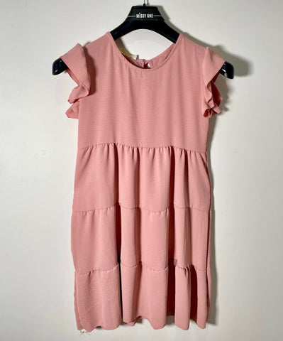 Frilly Round Neck Smock Dress in Pink