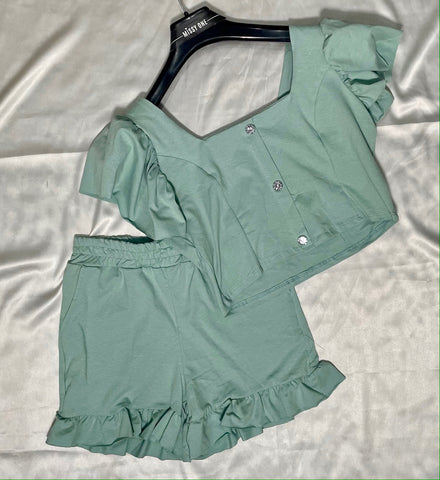 Detailed Frilly Short Set in Mint