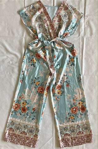 Printed Wide Leg Jumpsuit in Mint