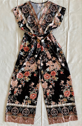 Printed Wide Leg Jumpsuit in Black