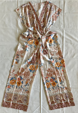 Printed Wide Leg Jumpsuit in Beige