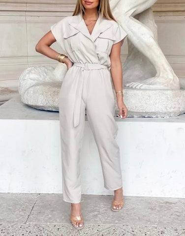 Belted Jumpsuit in Beige