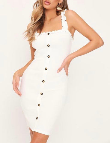 Frill Strap Button Dress in White