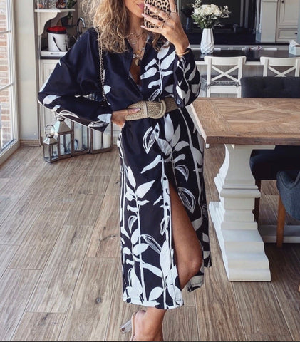 Leaf Print Shirt Dress in Black