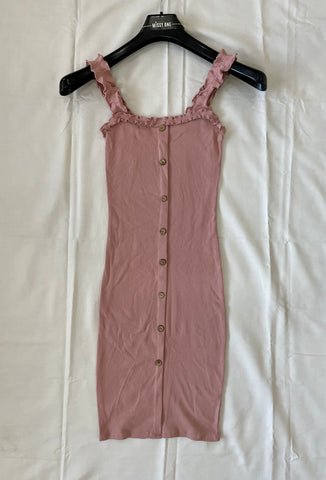 Frill Strap Button Dress in Pink
