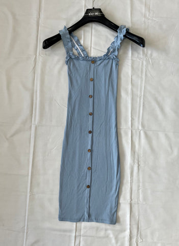 Frill Strap Button Dress in Blue