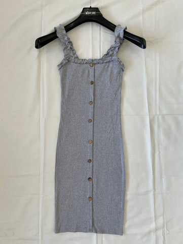 Frill Strap Button Dress in Grey