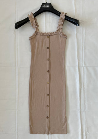 Frill Strap Button Dress in Beige