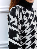 Houndstooth Roll Neck Jumper