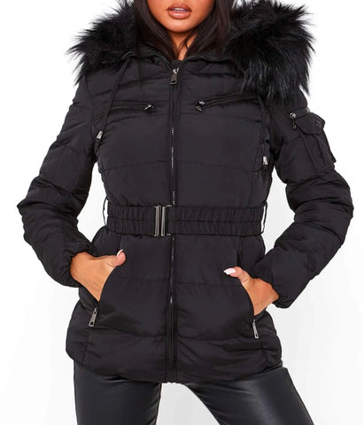 Luxe Belted Hooded Puffer Coat with Faux Fur Trim in Black