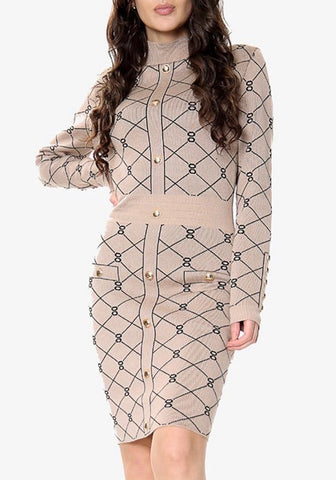 Inspired Balmain Bodycon Dress in Brown