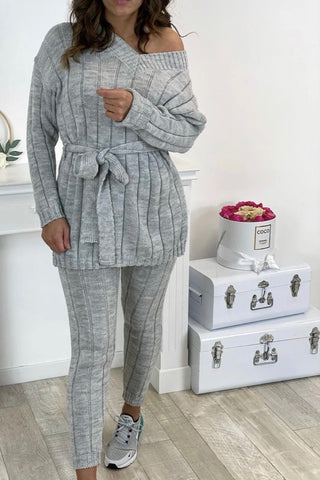 V Neck Belted Knit Lounge Set in Light Grey