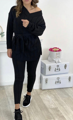 V Neck Belted Knit Lounge Set in Black