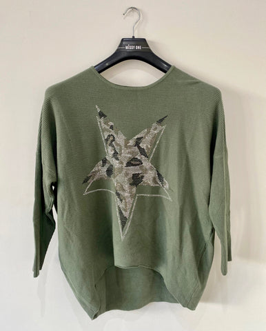 Diamante Star Design Top in Green
