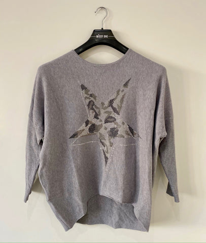 Diamante Star Design Top in Grey