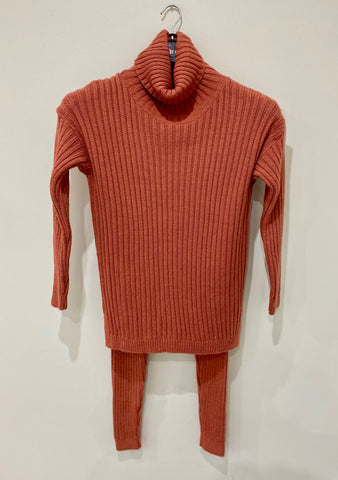 Chunky Ribbed Roll Neck Lounge Set in Rose