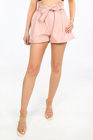 PU Leather Shorts in Pink