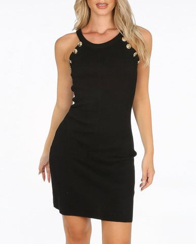 Gold Button Dress in Black