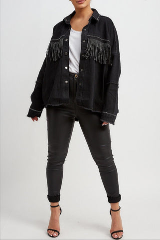 Black Denim Studded Fringe Jacket