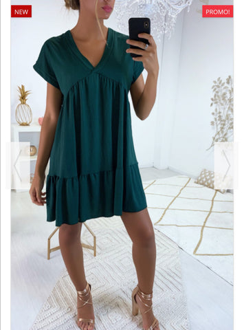 V Neck Smock Dress in Emerald
