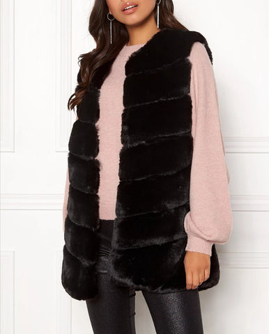 Layered Faux Fur Gilet in Black