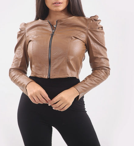 Puff Shoulder Faux Leather Jacket in Beige