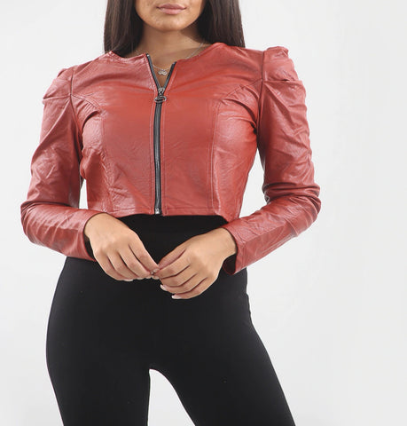 Puff Shoulder Faux Leather Jacket in Red