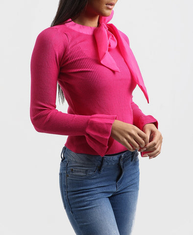 Neck Tie Up Top in Fusia