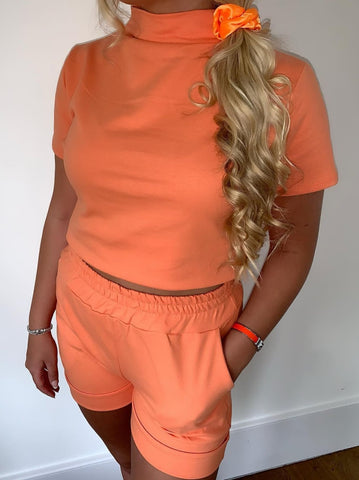 High Neck Short Set in Orange