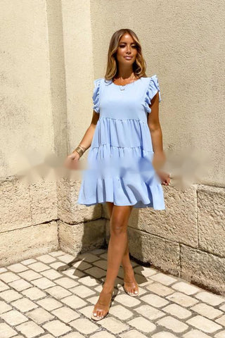 Frilly Round Neck Smock Dress in Blue