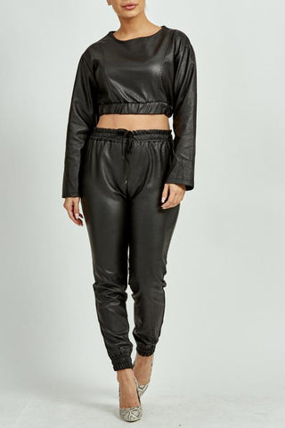 Faux Leather Co-Ord Set